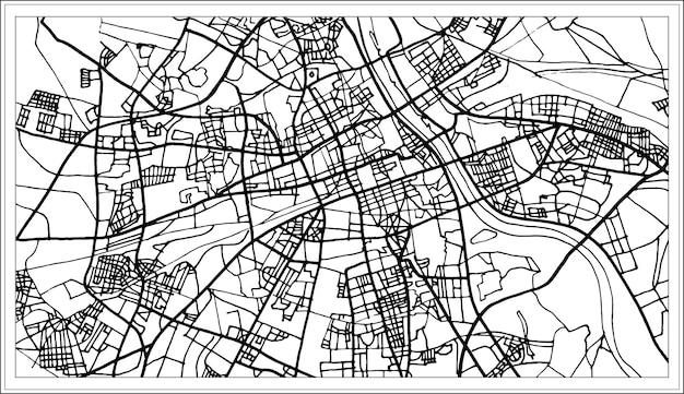 Warschau-polen-karte in schwarzweiss-farbe. vektor-illustration. übersichtskarte.