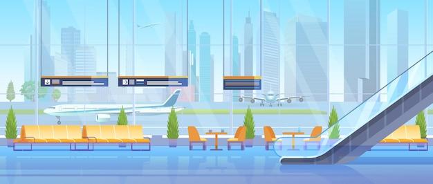 Wartehalle des flughafens modern im inneren wohnzimmer