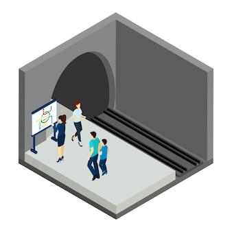 Warten auf u-bahn-zug-illustration
