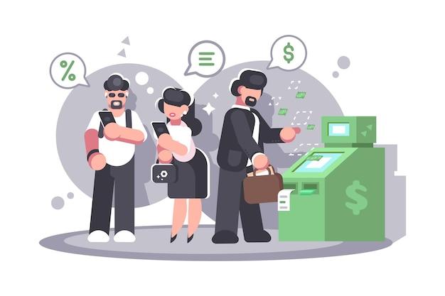 Warteschlange am geldautomaten, um geld von der kreditkarte abzuheben