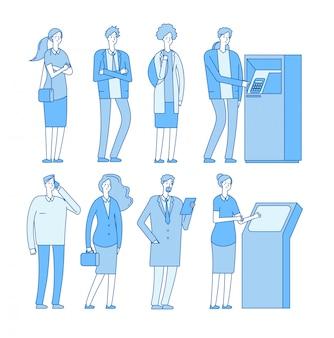 Warteschlange atm. leute in der schlange zu geldautomaten bargeld abheben geldzahlung. frau mann mit debitkreditkarte. bankgeschäft