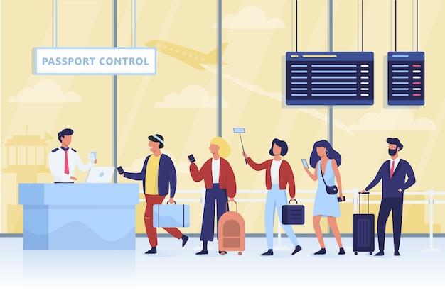 Warteschlange bei der passkontrolle am flughafen