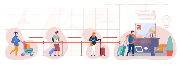 Warteschlange der touristen am check-in-schalter am flughafen. personen mit medizinischer maske stehen in der gepäckabgabestelle am terminal und pflegen soziale distanz. reisen sie während einer pandemie.