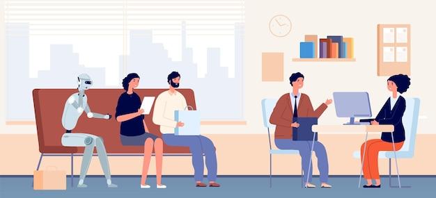 Warteschlange für vorstellungsgespräche. menschen und roboter sitzen in der warteschlange im büro. personalagentur, rekrutierungs- und einstellungskonzept. robotisierung-vektor-illustration. android in der warteschlange mit leuten im büro