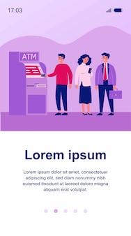 Warteschlange von bankkunden am geldautomaten. personen, die schlange stehen, um ihre kreditkarte für transaktionen zu verwenden. illustration für finanzen, geld abheben, währungskonzept