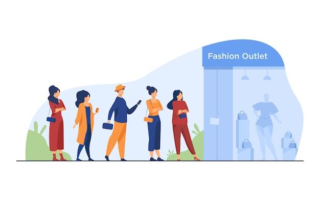 Warteschlange von kunden, die zum verkauf am boutique-fenster stehen