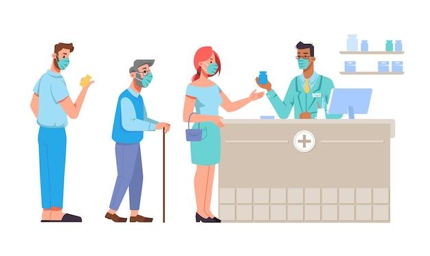 Warteschlange von menschen, die schützende gesichtsmasken tragen, indem sie medikamente beim apothekenapotheker kaufen