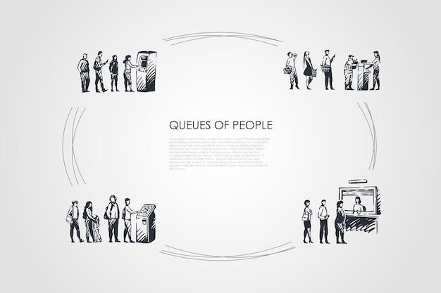 Warteschlangen von menschen hand gezeichneten cicle
