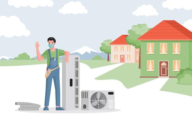 Wartung der installation von klimaanlagen in landhäusern