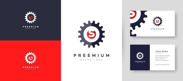 Wartung des initial letter s-logos mit premium-visitenkarten-designvorlage für ihr unternehmen