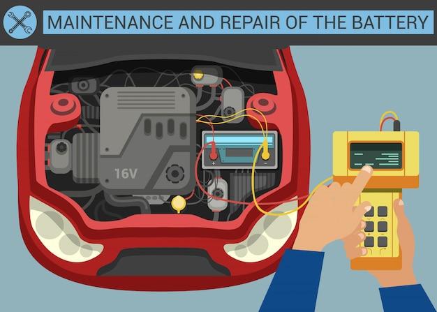 Wartung und reparatur der batterie.