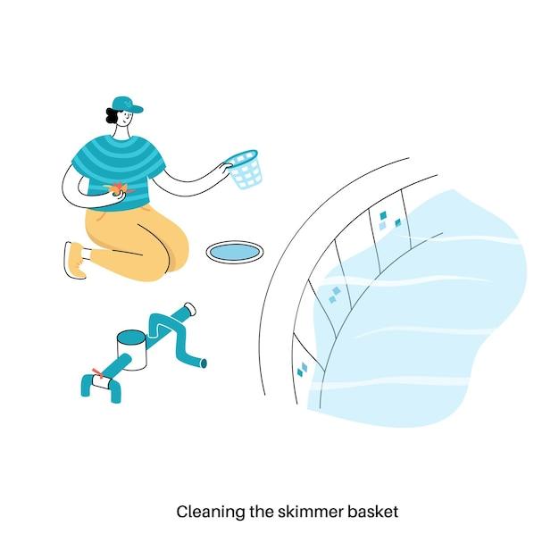 Wartung von schwimmbädern. vektorillustration von mannschocks und algiziden im schwimmbad