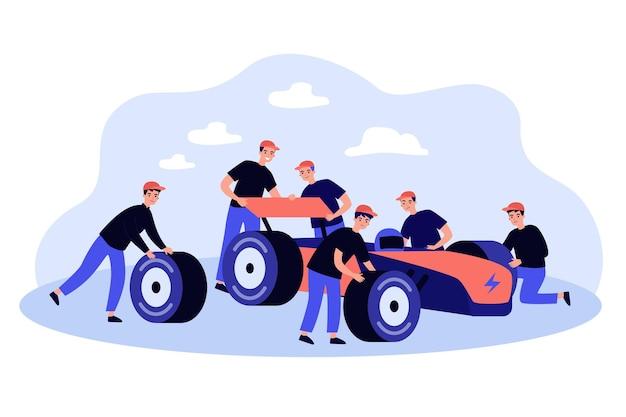 Wartungsteam repariert auto am boxenstopp