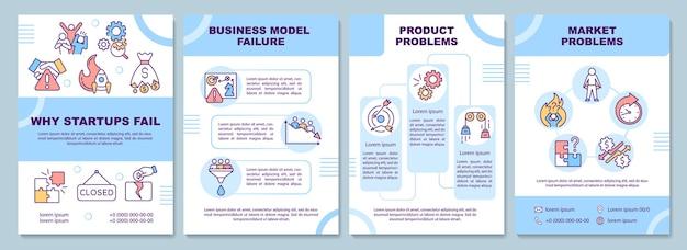 Warum startups scheitern broschürenvorlage. geschäftsmodell, produktproblem. flyer, broschüre, broschürendruck, cover-design mit linearen symbolen. vektorlayout für präsentation, geschäftsberichte, werbeseiten