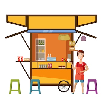 Warung street food cart mit verkäufer mann cafe restaurant kleine familienunternehmen, ladengeschäft