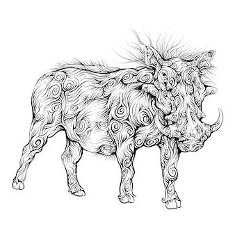 Warzenschwein in lockiger hand zeichenstil