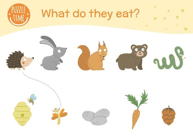 Was essen sie. matching-aktivität für kinder mit tieren und futter, das sie essen.