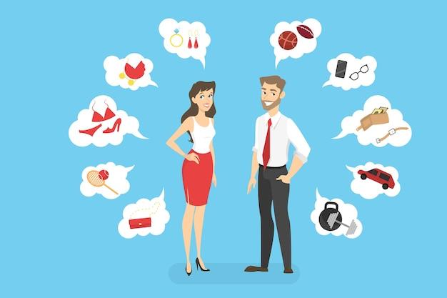 Was frau und mann wollen. junge glückliche charaktere, die mit gedankenblasen herumstehen und verschiedene dinge wünschen. illustration Premium Vektoren