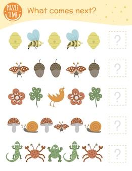 Was kommt als nächstes. matching-aktivität für kinder im vorschulalter mit tieren und insekten. lustiges waldspiel für kinder. arbeitsblatt für logisches quiz. setzen sie die reihe fort.