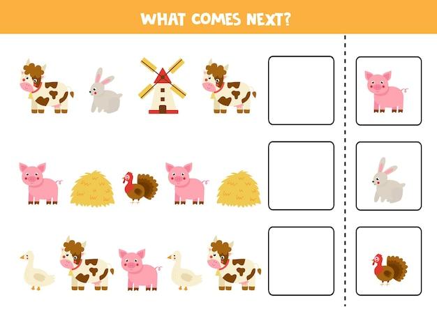 Was kommt als nächstes spiel mit niedlichen nutztieren. pädagogisches logisches spiel für kinder.