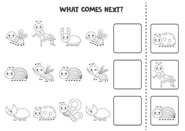 Was kommt als nächstes spiel mit niedlichen schwarzen und weißen insekten. pädagogisches logisches spiel für kinder.