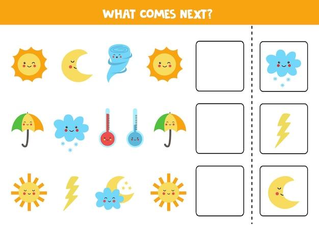 Was kommt als nächstes spiel mit niedlichen wetterelementen. pädagogisches logisches spiel für kinder.