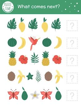 Was kommt als nächstes. tropische matching-aktivität für kinder im vorschulalter mit tropischen symbolen. lustiges exotisches puzzle für kinder. arbeitsblatt für logisches quiz. setzen sie die reihe fort.