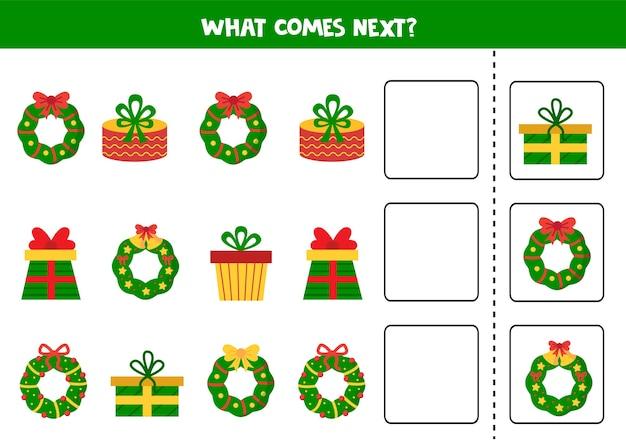 Was kommt nächstes spiel mit weihnachtskränzen und geschenken. logisches arbeitsblatt.