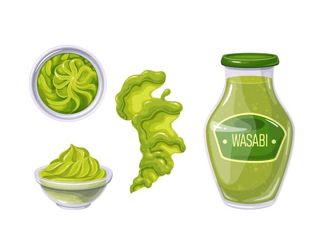 Wasabi in flasche und schüssel, sauce verschüttete streifen und flecken. draufsicht auf wasabi-sauce.