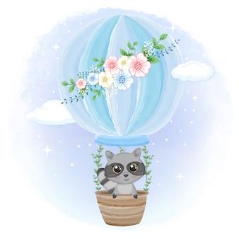 Waschbär auf heißluftballonkarikatur-tierillustration