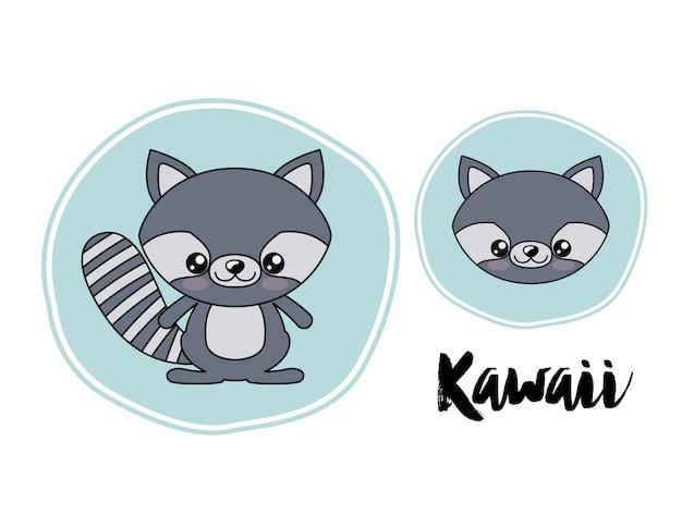 Waschbär charakter kawaii stil