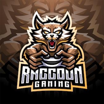 Waschbär gaming esport maskottchen logo design