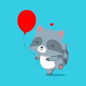 Waschbär läuft und spielt mit roten luftballons auf seiner hand