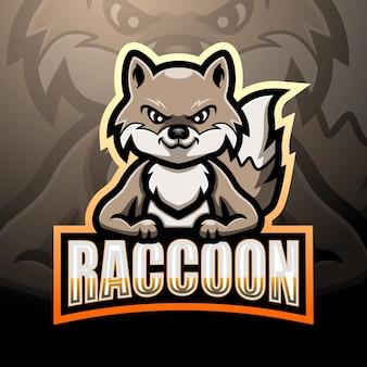 Waschbär maskottchen esport logo design