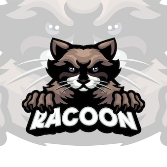 Waschbär-maskottchen-logo-vorlage