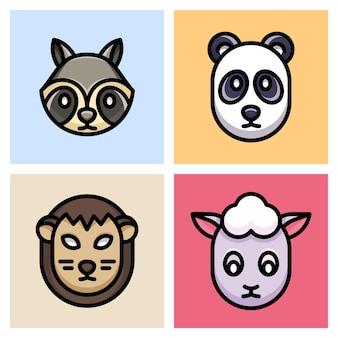 Waschbär, panda, pangolin und schaf