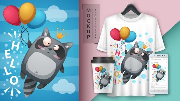 Waschbärfliegen-luftballonillustration für schale, t-shirt und smartphonetapete
