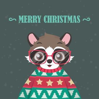 Waschbärporträt in der hässlichen weihnachtsstrickjacke
