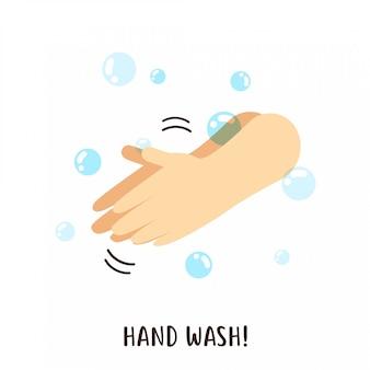Waschen der hand mit seifenvektorentwurf