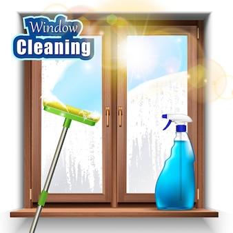 Waschen des fensterhintergrunds mit mopp und sprühprodukt.