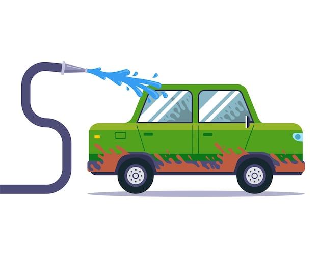 Waschen sie ein sehr schmutziges auto mit einem schlauch. flache vektorillustration.