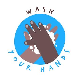 Waschen sie ihre hände banner mit dunkler haut