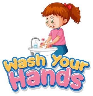 Waschen sie ihre hände illustration mit einem mädchen, das sich die hände auf weiß wäscht