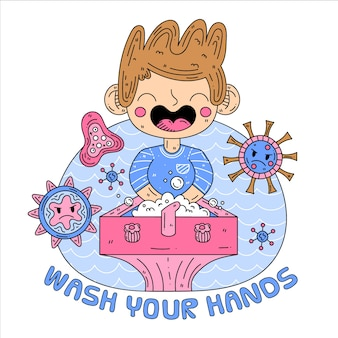 Waschen sie ihre hände illustration
