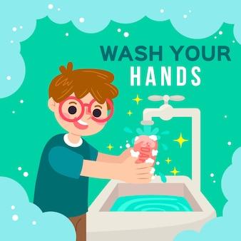 Waschen sie ihre hände illustriert