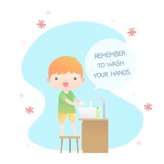 Waschen sie ihre hände illustriertes konzept