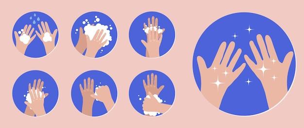 Waschen sie ihre hände infografik schritte zum richtigen händewaschen vorbeugung gegen viren und infektionen