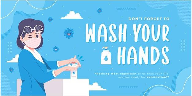 Waschen sie ihre hände kampagnenbanner-design