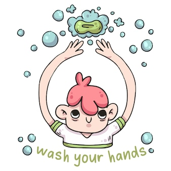 Waschen sie ihre hände mit seifenillustration