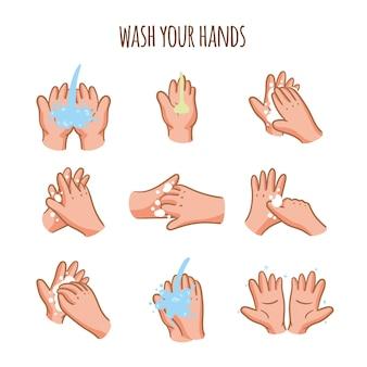 Waschen sie ihre hände mit verschiedenen gesten